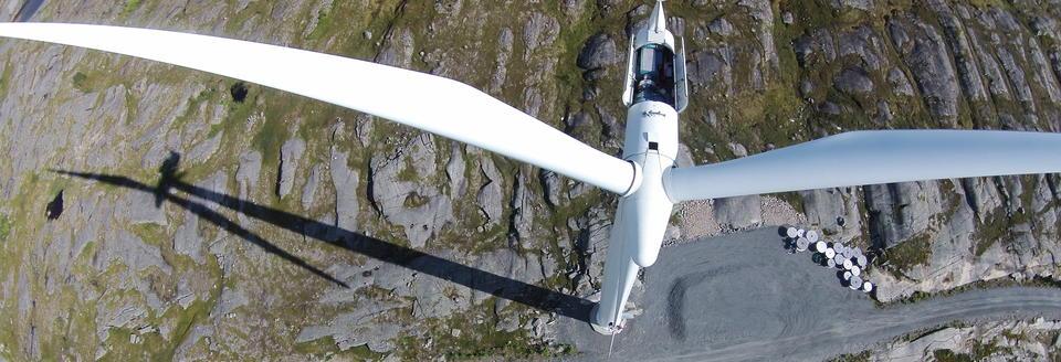 vindmølle sett ovenfra